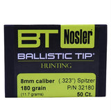 8mm Bullets - Ballistic Tip Hunting, 180 Grains, Spitzer, Per 50