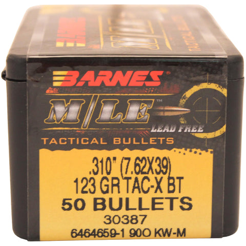 7.62x39mm Caliber Bullets - TAC-X, 123 Grains, Hollow Point Boat Tail (HPBT) Lead-Free, Per 50