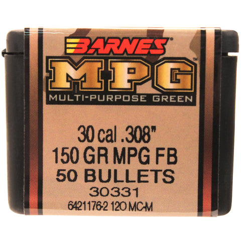 30 Caliber Bullets - Multi-Purpose Green (MPG), 150 Grains, Hollow Point Flat Base Lead-Free, Per 50