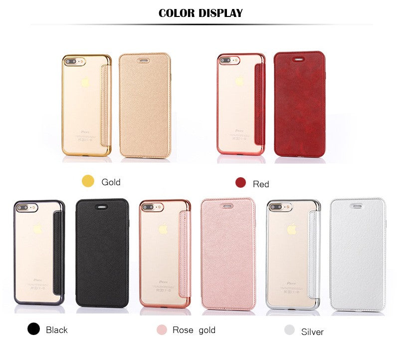 HAISSKY For iPhone 7 Plus Case 7 iPhone X Case Transparent TPU Luxury Leather Wallet Filp Cover Slim Light Glitter Phone Cases - iDeviceCase.com