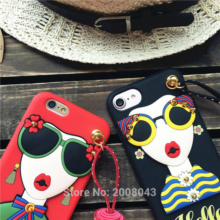 LUDI Hot 3D Sunglasses Modern Girl Goddess Rivet Tassels Cover for iphone X 8 8Plus Soft TPU Case For Iphone 7 6 6S Plus - iDeviceCase.com
