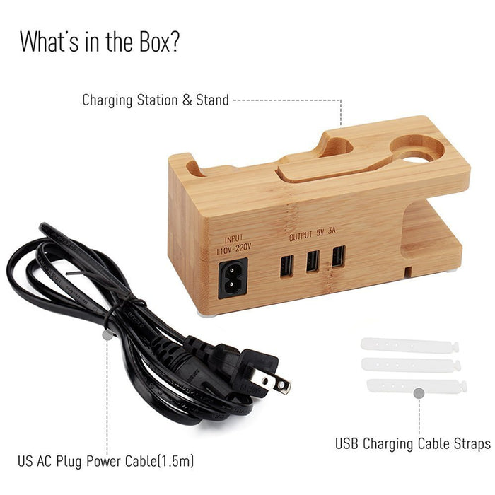 Watch Charging Stand Charging Dock Bamboo Charger Hub 5V3A Smart Charge Station Multi-Device - iDeviceCase.com
