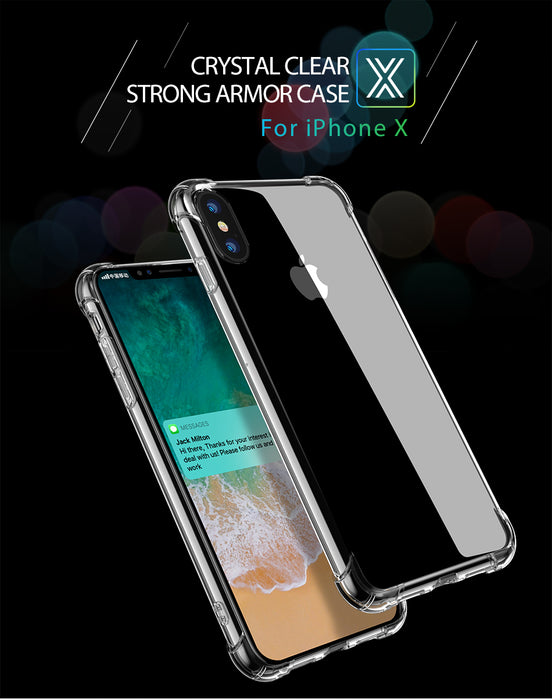 TORRAS Brand Clear TPU Case For iPhone X Protective Phone Case 1.4mm Thicker Airbag Corner Cover Case - iDeviceCase.com