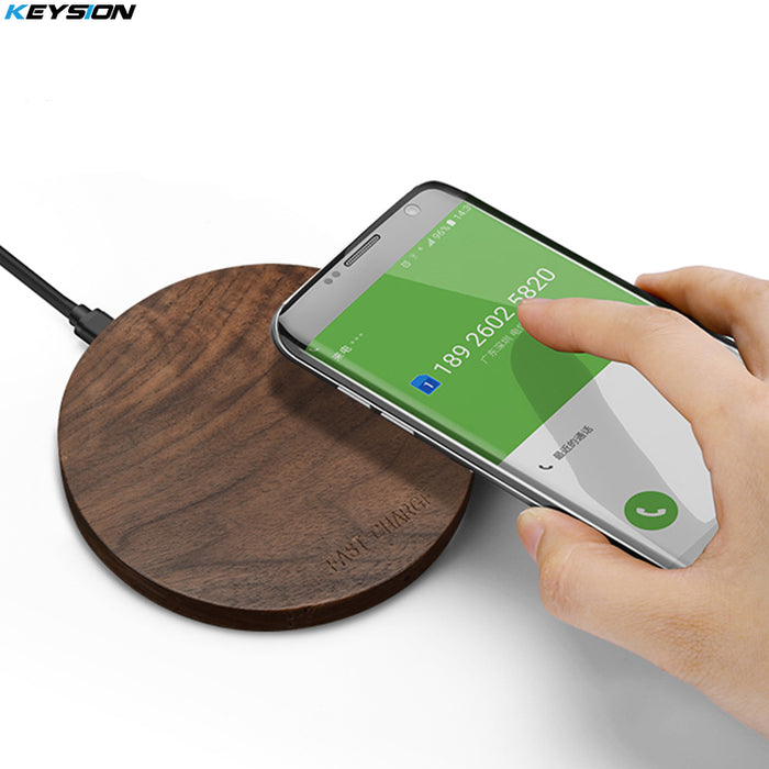 [Qi Wireless Charger 10W] KEYSION Wood fast Wireless Charger Charging Pad - iDeviceCase.com