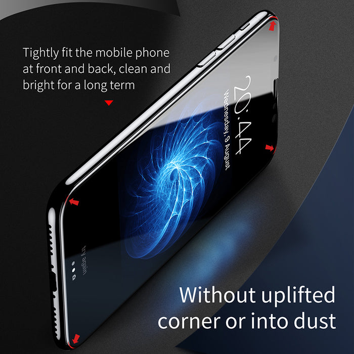 Baseus 3D Round Curved Edge Screen Protector For iPhone X Cover Front+Back Tempered Glass Film - iDeviceCase.com