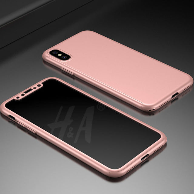 H&A 360 Degree Protection Case For iphone X Cover Luxury Case Plastic Hard Shockproof Back Cover For iphone X Phone Shell - iDeviceCase.com