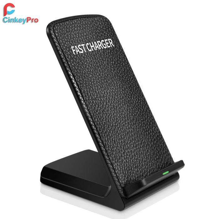 CinkeyPro QI Wireless Charger Fast Charging for iPhone 8 10 X Samsung Galaxy S6 S7 S8 3-Coils Stand Pad 5V/2A & 9V/1.67A Charge - iDeviceCase.com