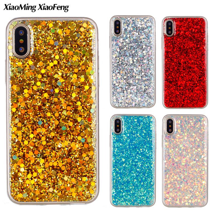 For Apple iPhone X Case Silicone Glitter Bling Back Cover Case iPhone X Cover TPU Transparent Side Phone Cases iPhoneX Coque - iDeviceCase.com