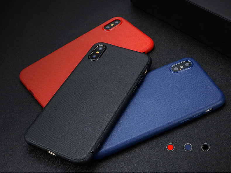 FSHANG Luxury Litchi Grain Soft TPU Phone Back Capa For Apple iPhone X Case With Retail Package - iDeviceCase.com