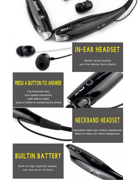 YODELI Sports HV800 Wireless Bluetooth Headset Headphones with Mic Stereo Bluetooth Earphone - iDeviceCase.com