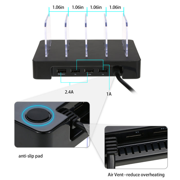 4 Ports USB Hub Universal Multi Device Charging Station Fast Charger Docking 24W - iDeviceCase.com