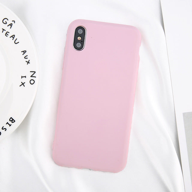 USLION Phone Case Simple Solid Color Ultrathin Soft TPU Cases Cute Candy Color Back Cover Capa - iDeviceCase.com