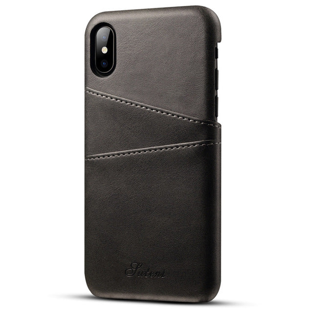 new product 6f72b f8e82 Luxury Leather Wallet Card Case for Apple IPhone X 8 7 Plus 6S Business  Vintage Credit Card Holder Back Cover for IPhone X Cases
