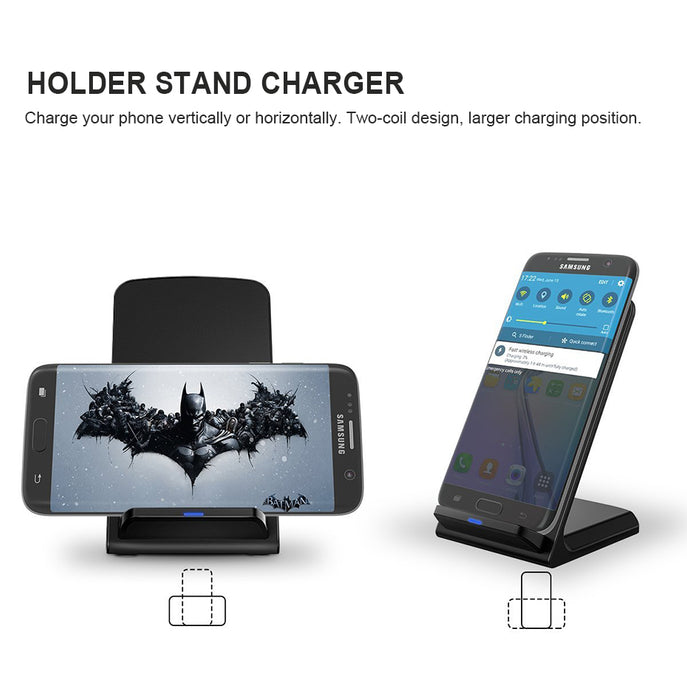 KONSMART Qi Fast Wireless Charger QC 2.0 Quick Charge Dock Stand Base Charger for iPhone 8 10 X Samsung S6 S7 S8 Note5 Xiaomi - iDeviceCase.com