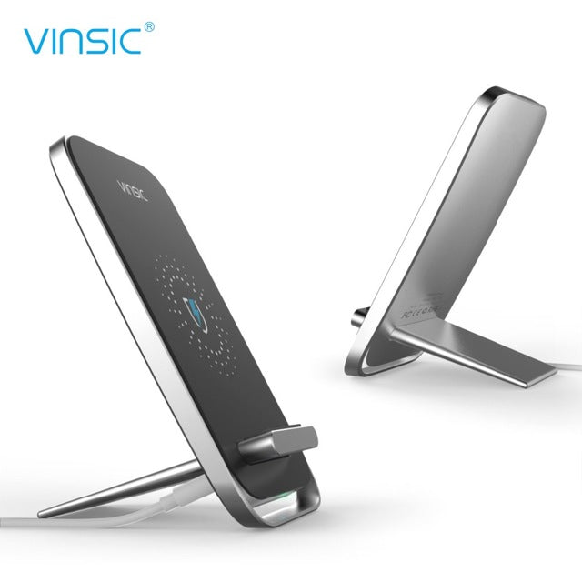 Vinsic Qi Wireless 3 Coils Charge Pad with Phone Holder Stand - iDeviceCase.com