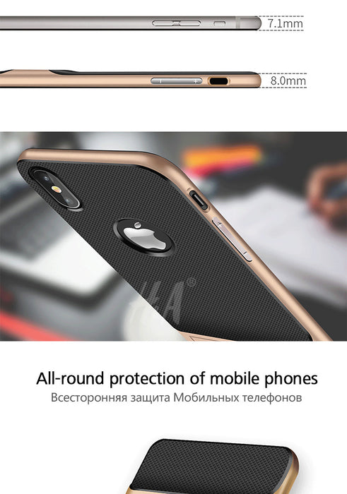 H&A 360 Protective Case For iPhone X Cover Kickstand PC+TPU Shock Proof Holder Phone Case For iPhone X Cover - iDeviceCase.com