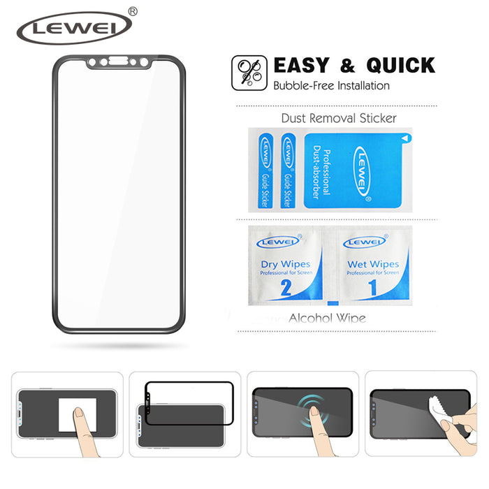 LEWEI For iPhone X 5.8'' 3D Curved 4D Tempered Glass Full Coverage Screen Protector Film For iPhone 10 Cold Carving Edge Round - iDeviceCase.com