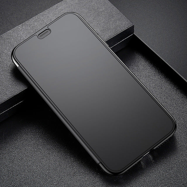 Baseus Luxury Flip Case For iPhone X Touchable Tempered Glass Cover + TPU Back Case - iDeviceCase.com