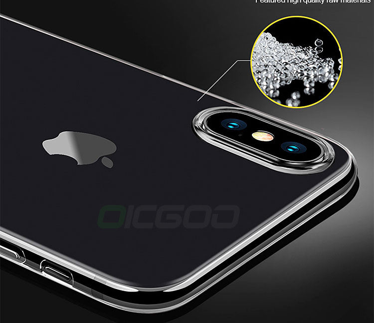 OICGOO Luxury Silicone Transparent TPU Case For iPhone X Ultra Thin Soft Full Cover - iDeviceCase.com