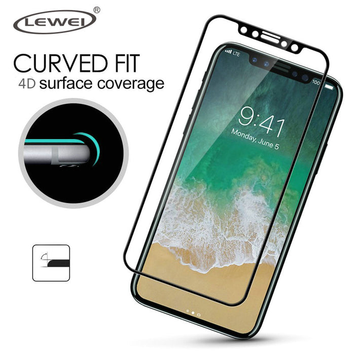 LEWEI 3D Glass For iPhone X 4D Tempered Glass 9H Round Full Curved Edge Screen Protector Film Safety Cover Case - iDeviceCase.com