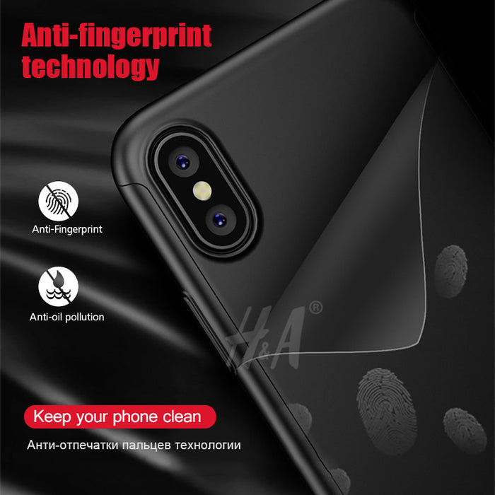 H&A 360 Degree Full Cover Cases For iPhone X Case wish Tempered Glass Cover For iphone X Phone Case Capa - iDeviceCase.com