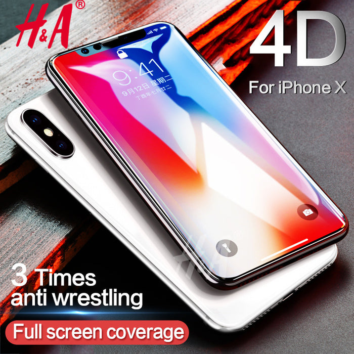 H&A 4D(2nd Gen 3D) Full Curved Edge Tempered Glass For iPhone X Screen Protector For iPhone X 10 Tempered Glass Cover - iDeviceCase.com