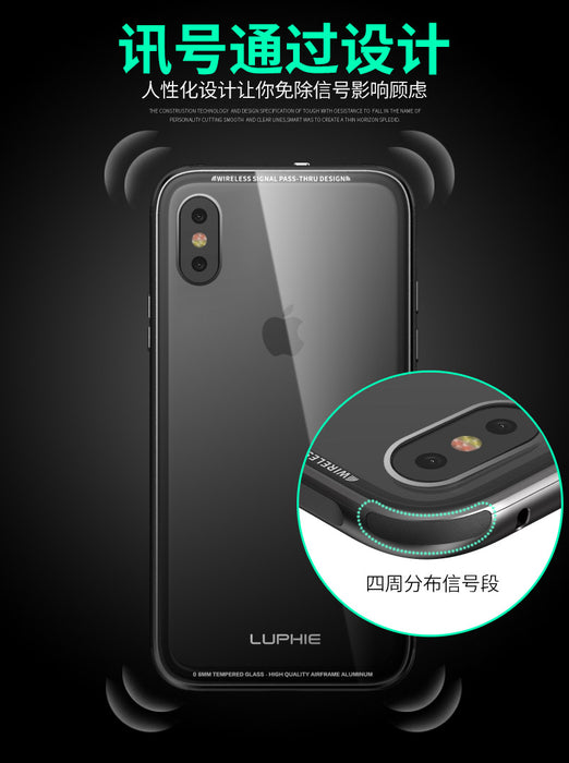 Luphie For Apple iphone X Case Transparent Tempered Glass Hard Shell Case Anti-shock Aluminum Metal PC Case For iphone X capa - iDeviceCase.com
