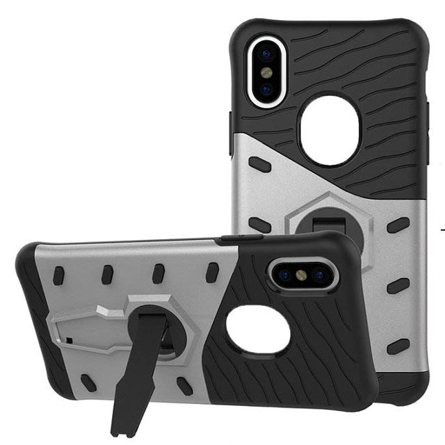 Fitted Case for iPhone X Edition 5.8 Inch Plastic Silicon Kickstand Back Covers Phone Bags Cases for iPhone 8 Plus Celular - iDeviceCase.com