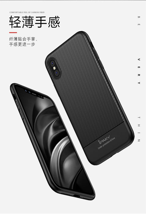 for iPhone X Case Original IPAKY Brand Luxury Carbon Fiber Skin Hybrid Silicone Protective Soft Cover for Apple iPhone X case - iDeviceCase.com