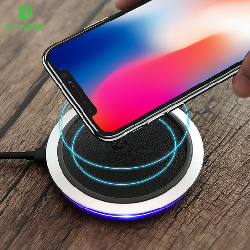 Qi Fast Wireless Charger , FLOVEME Original Leather Wireless Chargers Charging Pad - iDeviceCase.com