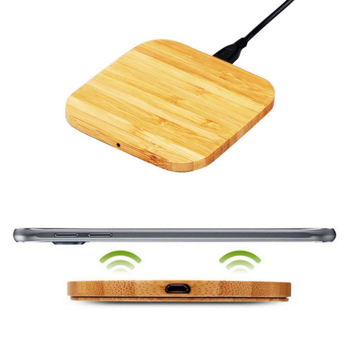 GOLDFOX Portable Qi Wireless Charger Charging Slim Wood Pad Mat Cell Battery Charger Charge - iDeviceCase.com