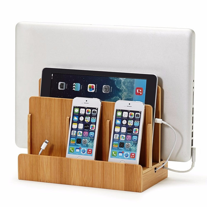 Multi Device Charging For Laptops,Tablets,Phones-Strong Build,Eco-Friendly Bamboo Station - iDeviceCase.com
