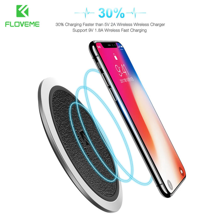 FLOVEME Qi Wireless Charger 5V 2A Standard 9V 1.8A Leather Fast Charger - iDeviceCase.com