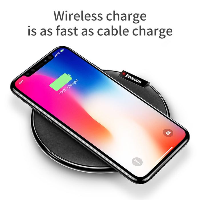 Baseus PU Leather Qi Wireless Charger Desktop Fast Wireless Charging with 1M Cable - iDeviceCase.com