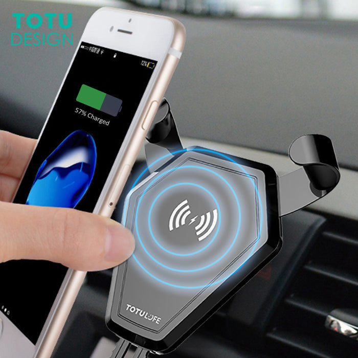 TOTU Qi Wireless Charger Holder Fast Wireless Charging Car Mount Air Vent Car Phone Stand - iDeviceCase.com