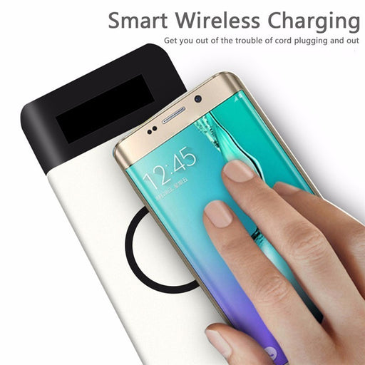 Qi Wireless Charger Power Bank 10000mAh Fast Rechargeable External Battery USB Charging Pad - iDeviceCase.com