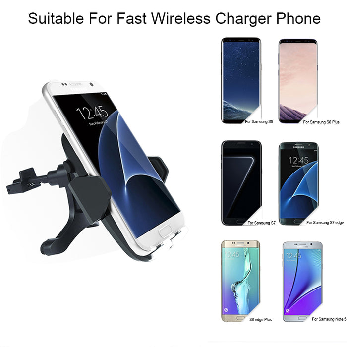 Fast Qi Wireless Charger Air Vent Car Phone Holder Wireless Car Charging For iPhone X 8 Samsung Note 8 S8 S7 S6 Edge Plus Note 5 - iDeviceCase.com