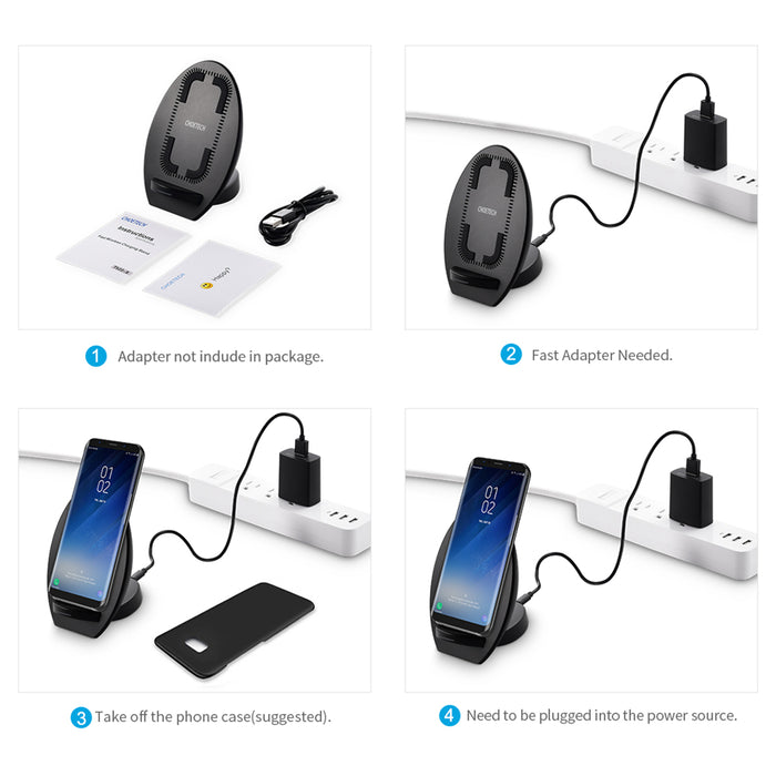 CHOETECH 10W 2 Coil Fast Qi Wireless Charger Phone Charging Pad Stand with Cooling Fan for iPhone 8 X Samsung S8 S7 S6 Edge Plus - iDeviceCase.com