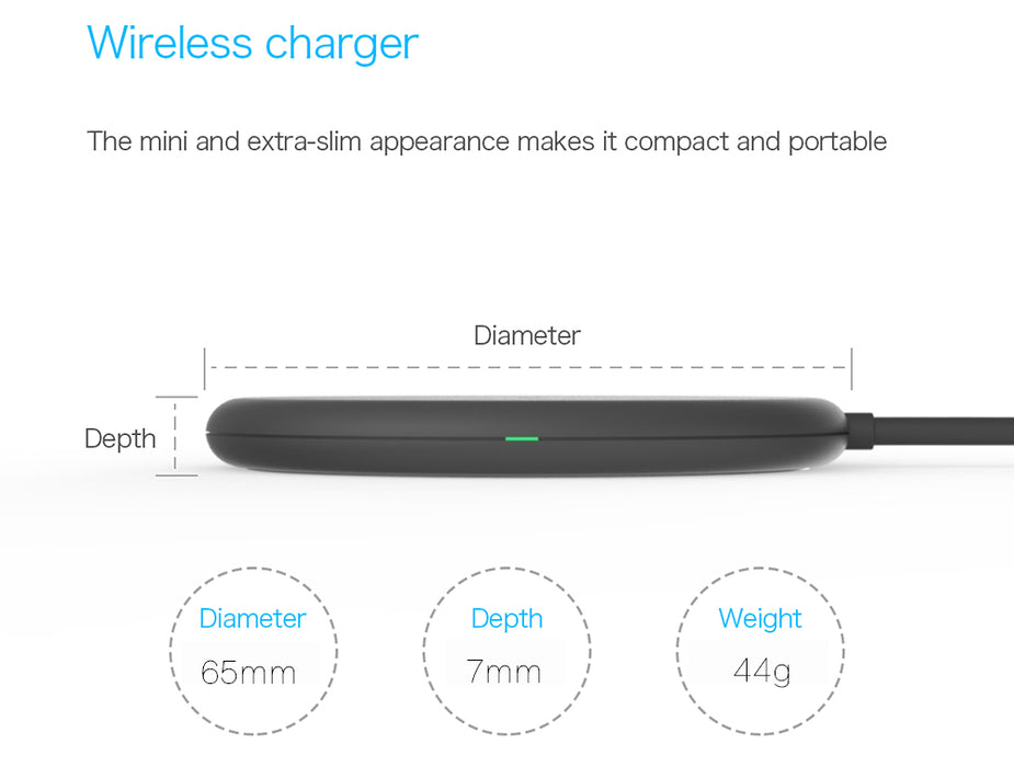 VINSIC VSCW114 5V 1A Qi Wireless Charger Mini Ultra Slim with Cable - iDeviceCase.com