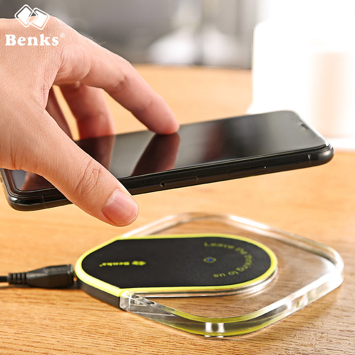 BENKS Portable LED Anti-Slip Qi Wireless Charger High Speed Quick Charging Mat Pad - iDeviceCase.com