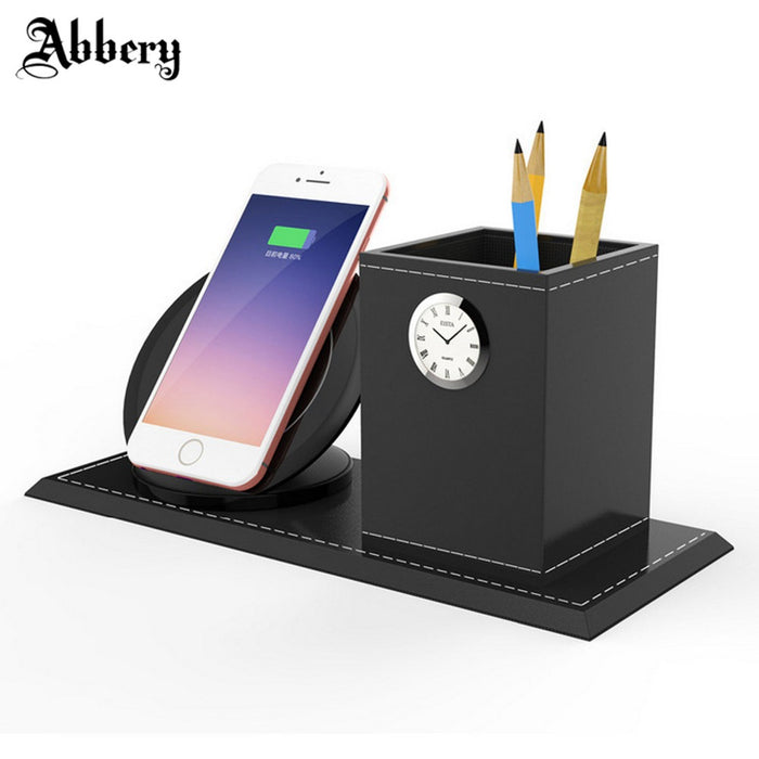 Abbery Wireless Charger Transmitter with Pen Container and Clock Function - iDeviceCase.com