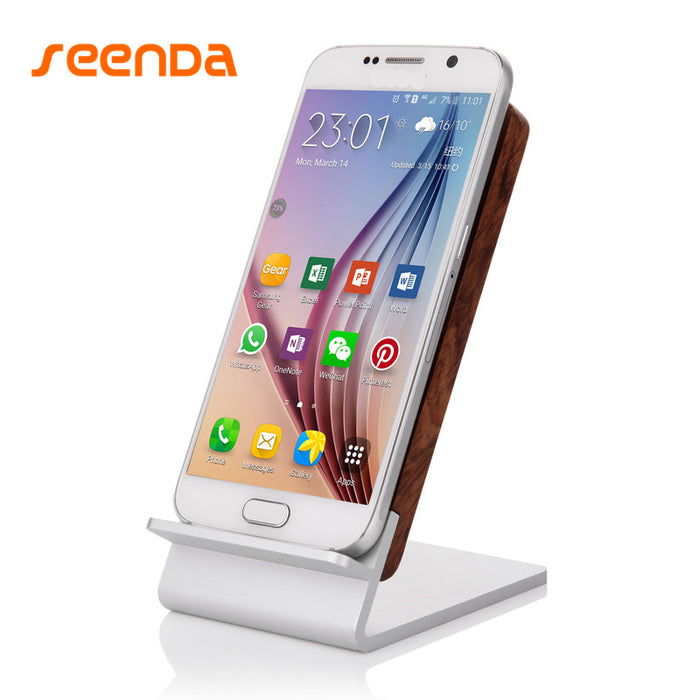 Seenda Fast charger Qi 2.0 Wood Wireless Charger Stand Fast Charge Charging Aluminum wood Holder - iDeviceCase.com