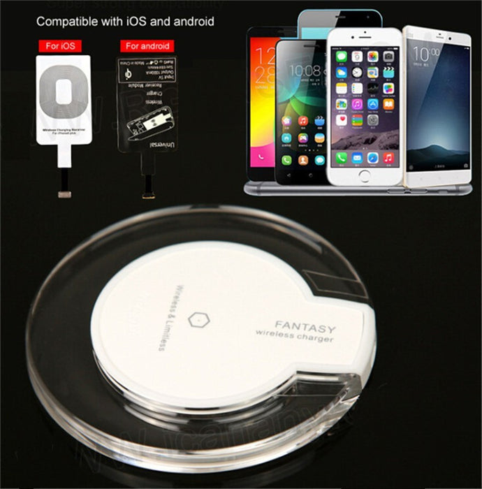 Fashion Crystal QI Wireless Charger Blue Light Crystal Charging Pad For Samsung Galaxy S8 S6 S7 EDGE LG Google iphone 8 plus X - iDeviceCase.com