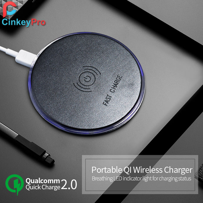 CinkeyPro QI Wireless Charger Fast Charging for iPhone 8 10 X Samsung Galaxy S6 S7 S8 Plus Quick Charge 2.0 Pad 5V/2A & 9V/1.67A - iDeviceCase.com
