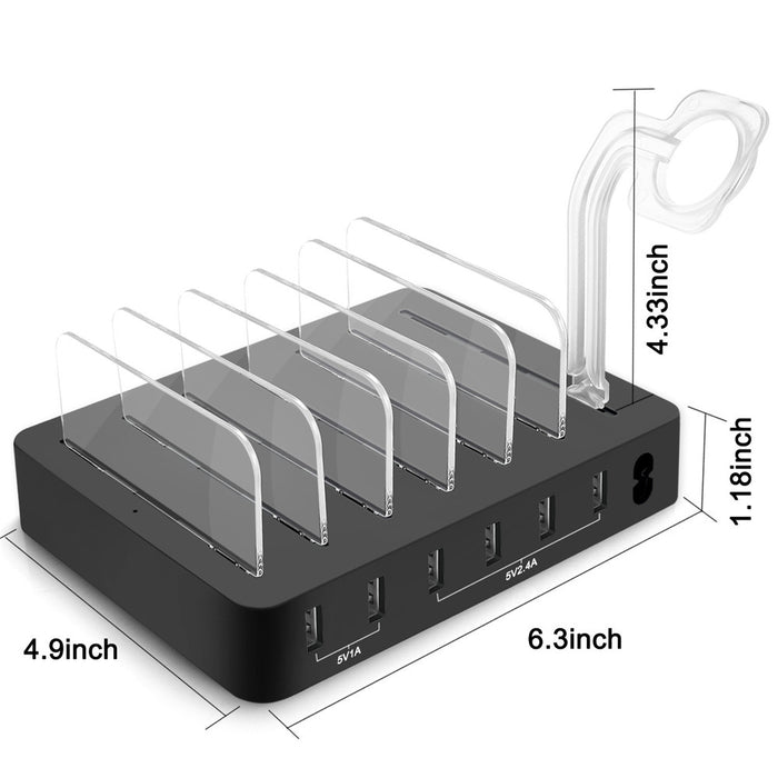 SZYSGSD 6 Multi Ports Universal Detachable USB Charging Station Stand Holder Desktop Charger - iDeviceCase.com
