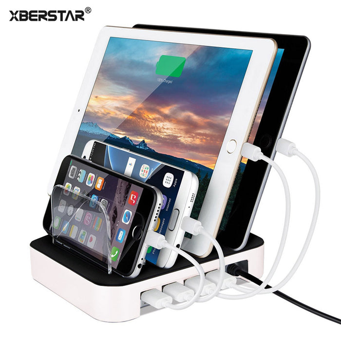For iPhone 7 6 6S Plus 5 Samsung LG 24W Charging Station 4 Ports 2.4A Multi Function Dock Stand Holder Universal USB Charger - iDeviceCase.com