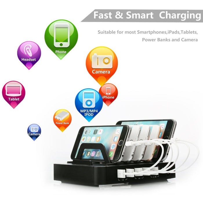 Elecguru USB Charging Station Dock Stand Holder 6 Ports 1A/2.4A Multi Function Universal USB Charger - iDeviceCase.com