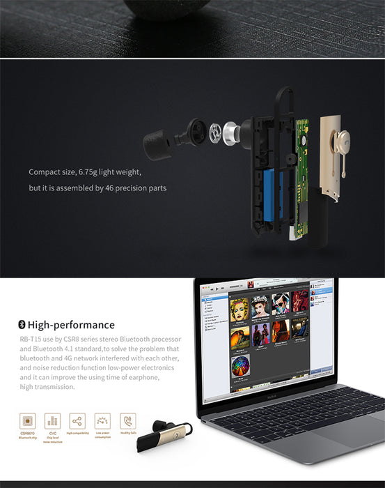 Remax RB-T15 Portable Wireless Bluetooth Earphone Handsfree Earbud for Phone Car - iDeviceCase.com