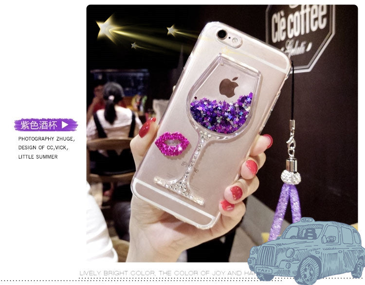Dower Me Diamond Quicksand Wine Cup Case For iphone XS Max XR X 8 7 6S Plus SE Samsung Galaxy Note 9 8 5 4 3 S9/8/7/6 Edge Plus - iDeviceCase.com
