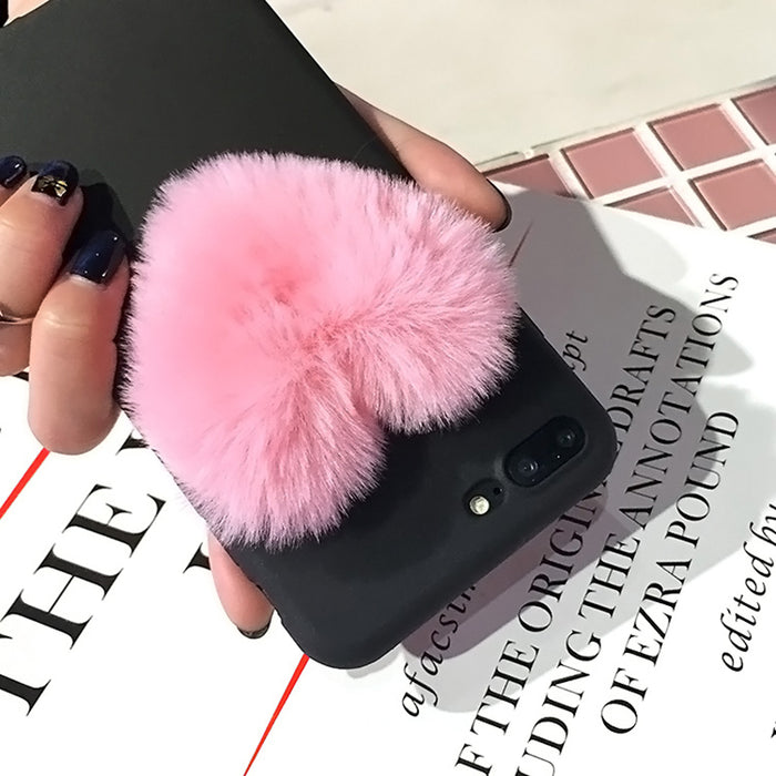 Luxury 3D Cartoon Love Heart case for iPhone XS Max 5 5s 6 6S 7 8 Plus Rabbit Fur plush super cute soft TPU cover for iPhone XR - iDeviceCase.com